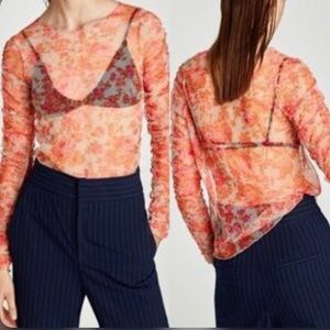Zara Sheer Floral Tulle Long Sleeve Top Size M